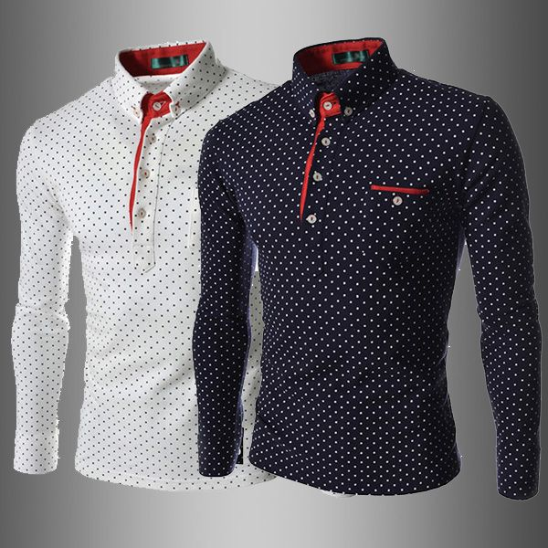 8fe5a4571ce78 Aliexpress.com  Compre Moda britânica homens Camisa de bolinhas 2014 novo  estilo europeu camisas