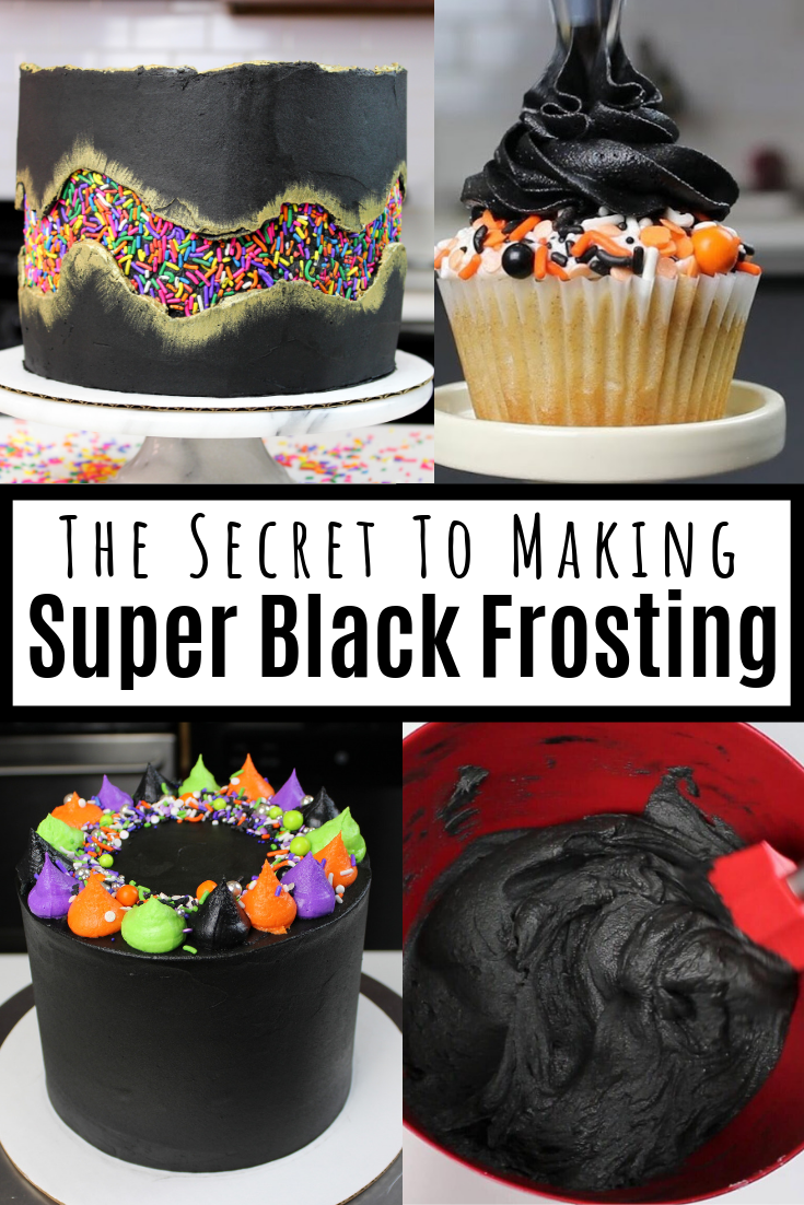 Black Frosting That Won't Stain Your Teeth - Chelsweets #halloweencupcakes