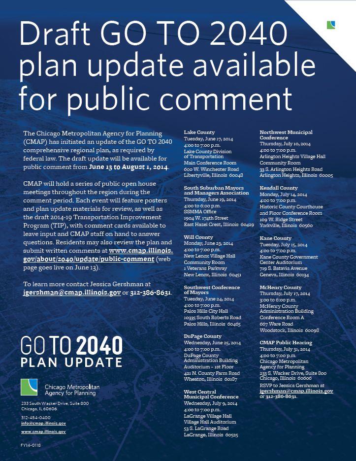 Final GO TO 2040 plan update public meeting 7/31, 4:00-7:00 p.m. at #CMAP (255 S Wacker, Ste 800, Chicago). Please RSVP.