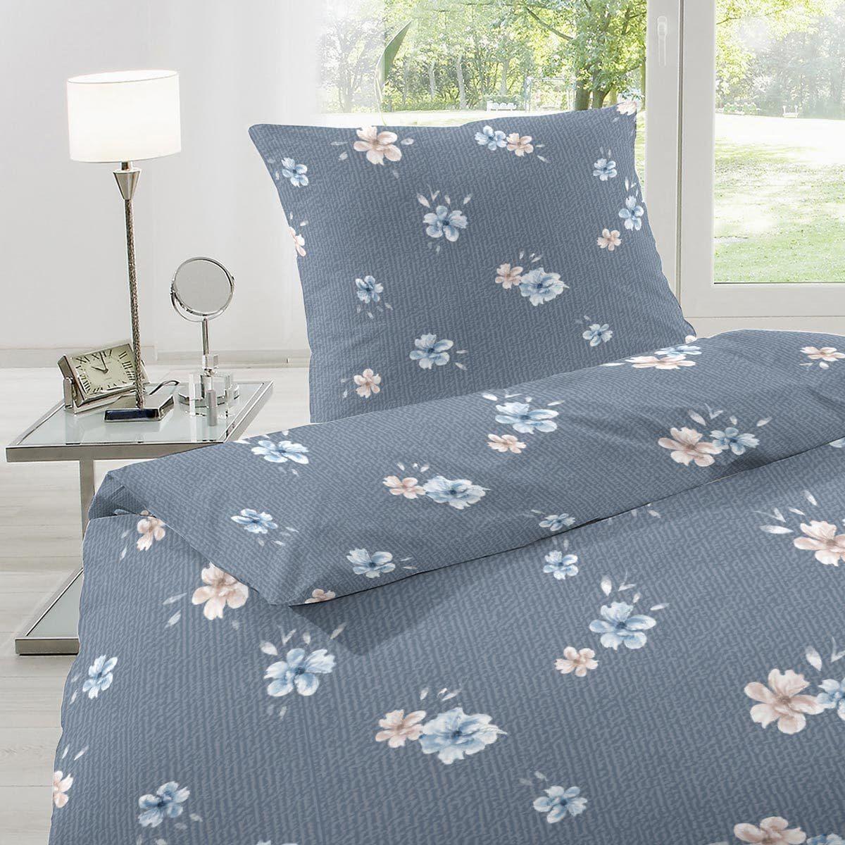 Hahn Feinbiber Bettwasche Blumen Blau Gunstig Online Kaufen Bei