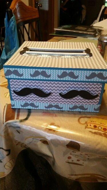 Mustache birthday card box