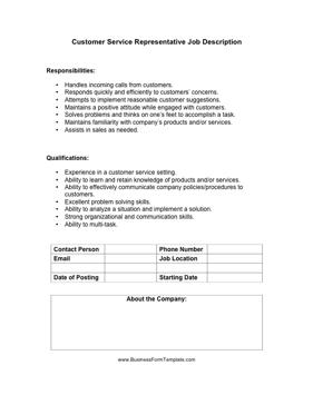 employee duties and responsibilities template