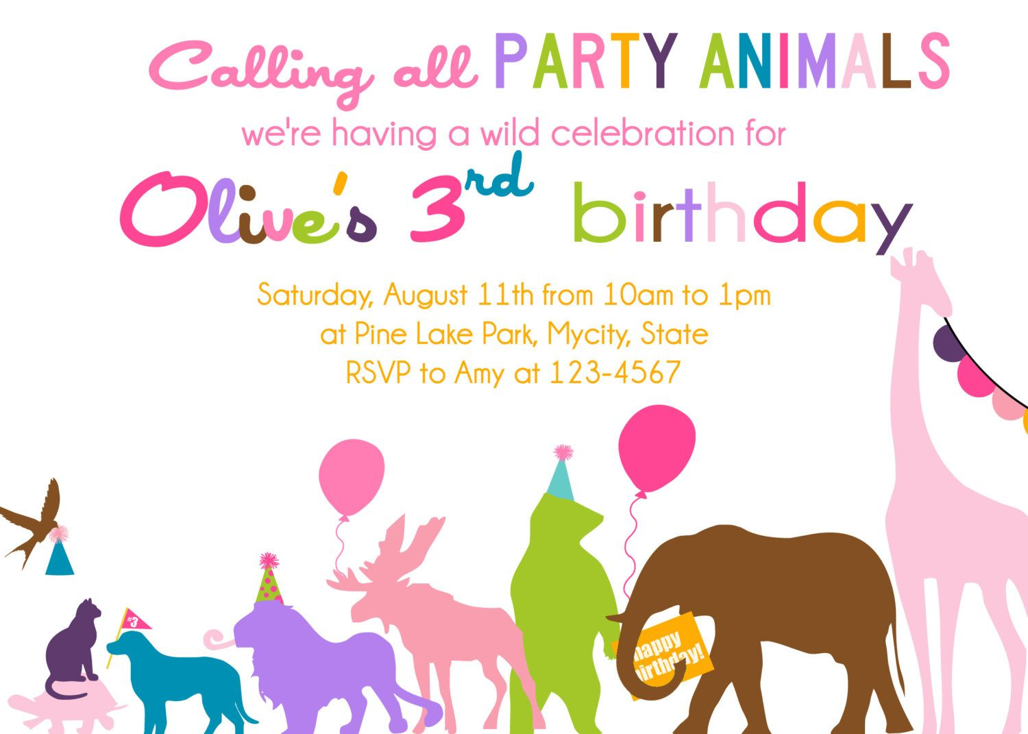 Wild Party Animals on Parade custom photo birthday party invitation ...
