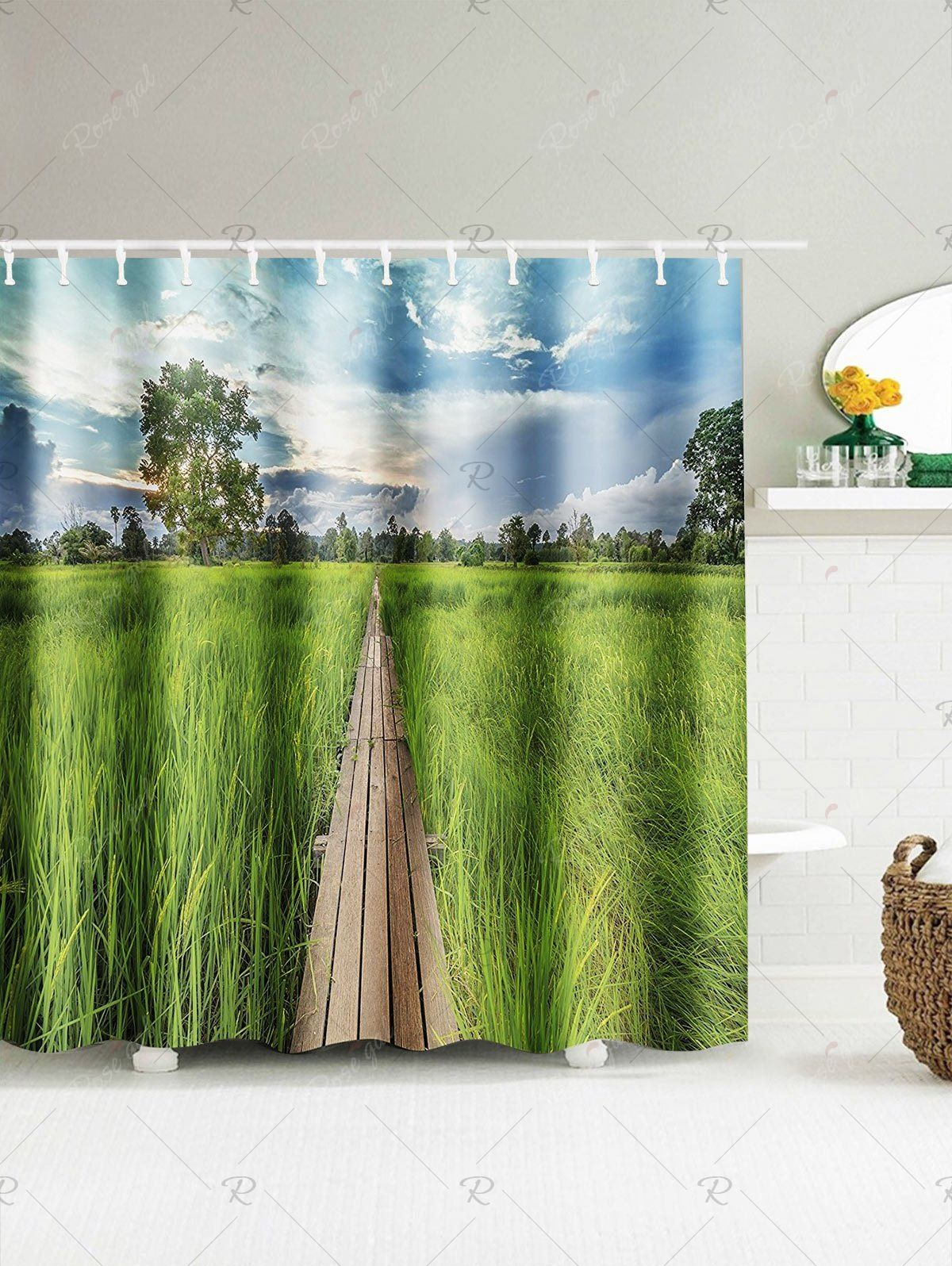 Paddy Field Landscape Shower Curtain Curtains Curtain Material