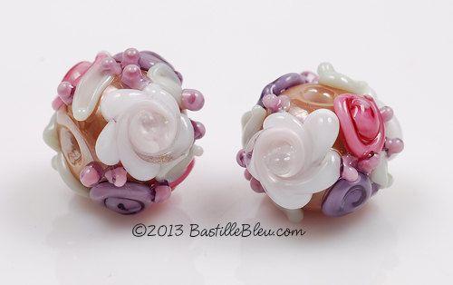 Floral Rounds Handmade Lampwork Glass by BastilleBleuLampwork, $12.00