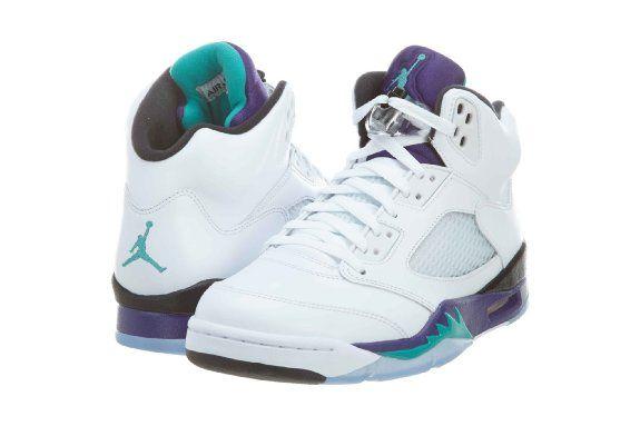 huge selection of bb709 e2d1e Amazon.com  Mens Nike Air Jordan 5 Retro Basketball Shoes GRAPES White   New  Emerald Grape   Ice   Black 136027-108  Shoes