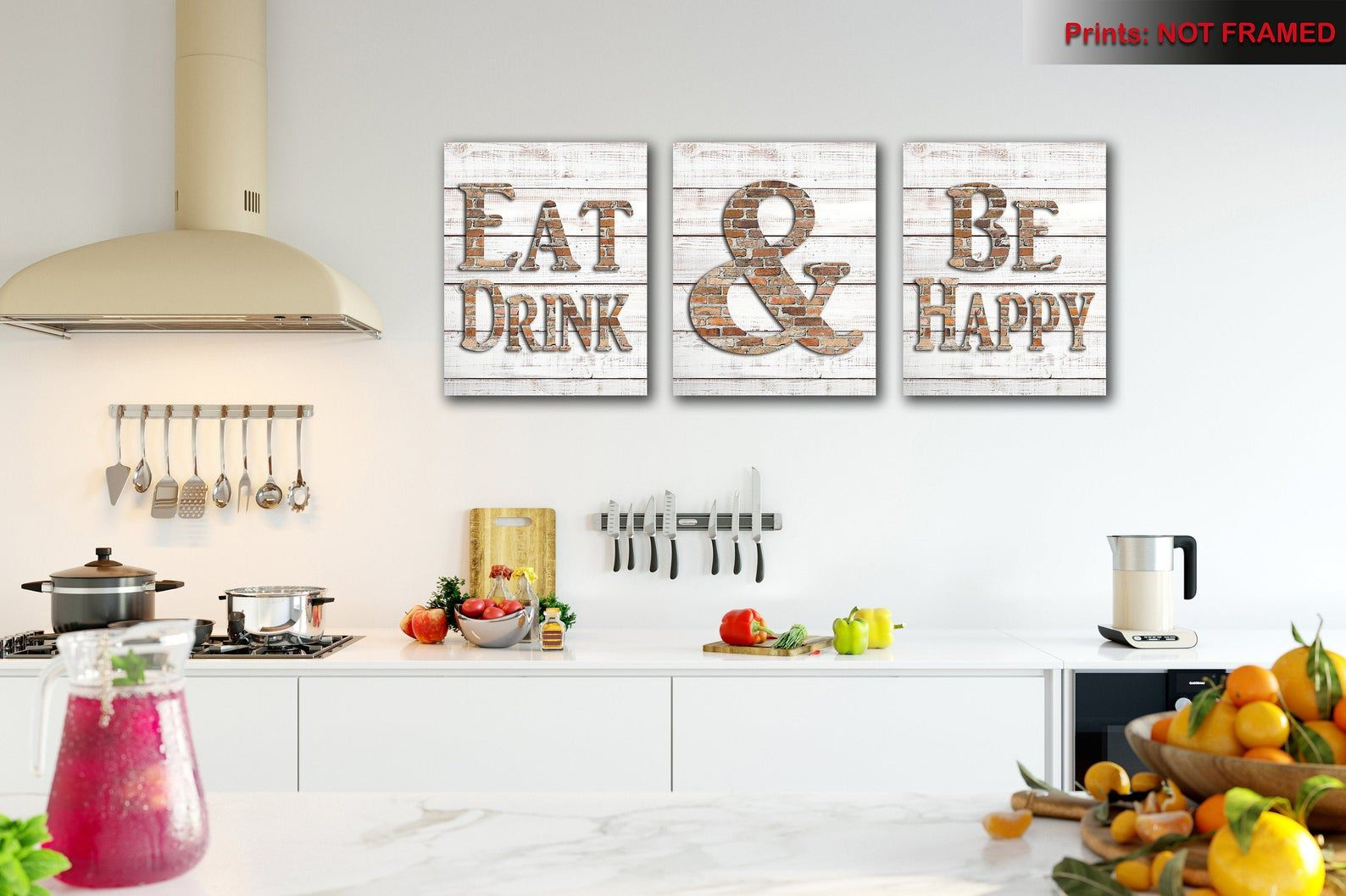 Modern Kitchen Wall Art Shabby Chic Eat And Drink Be Happy Print Decor