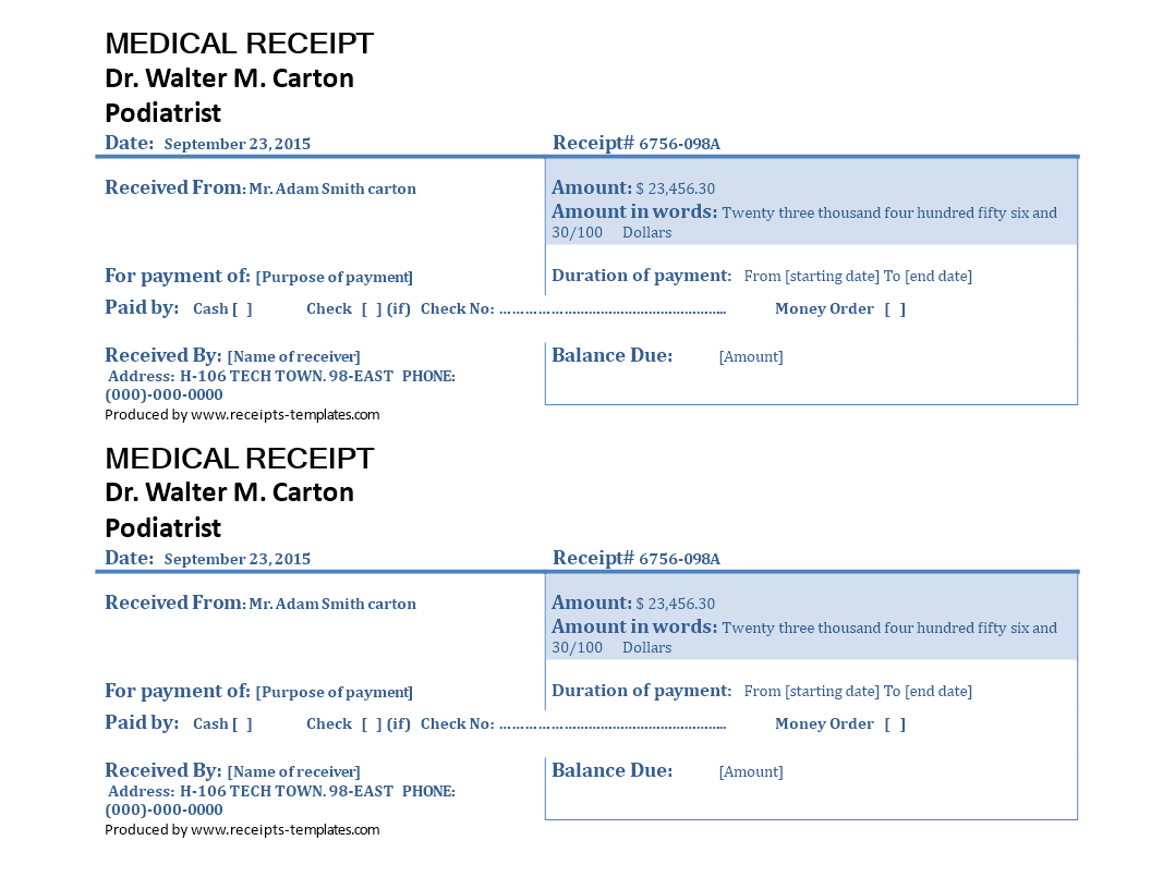 How To Make A Medical Receipt Download This Medical Receipt Template Now Receipt Template Medical Business Template