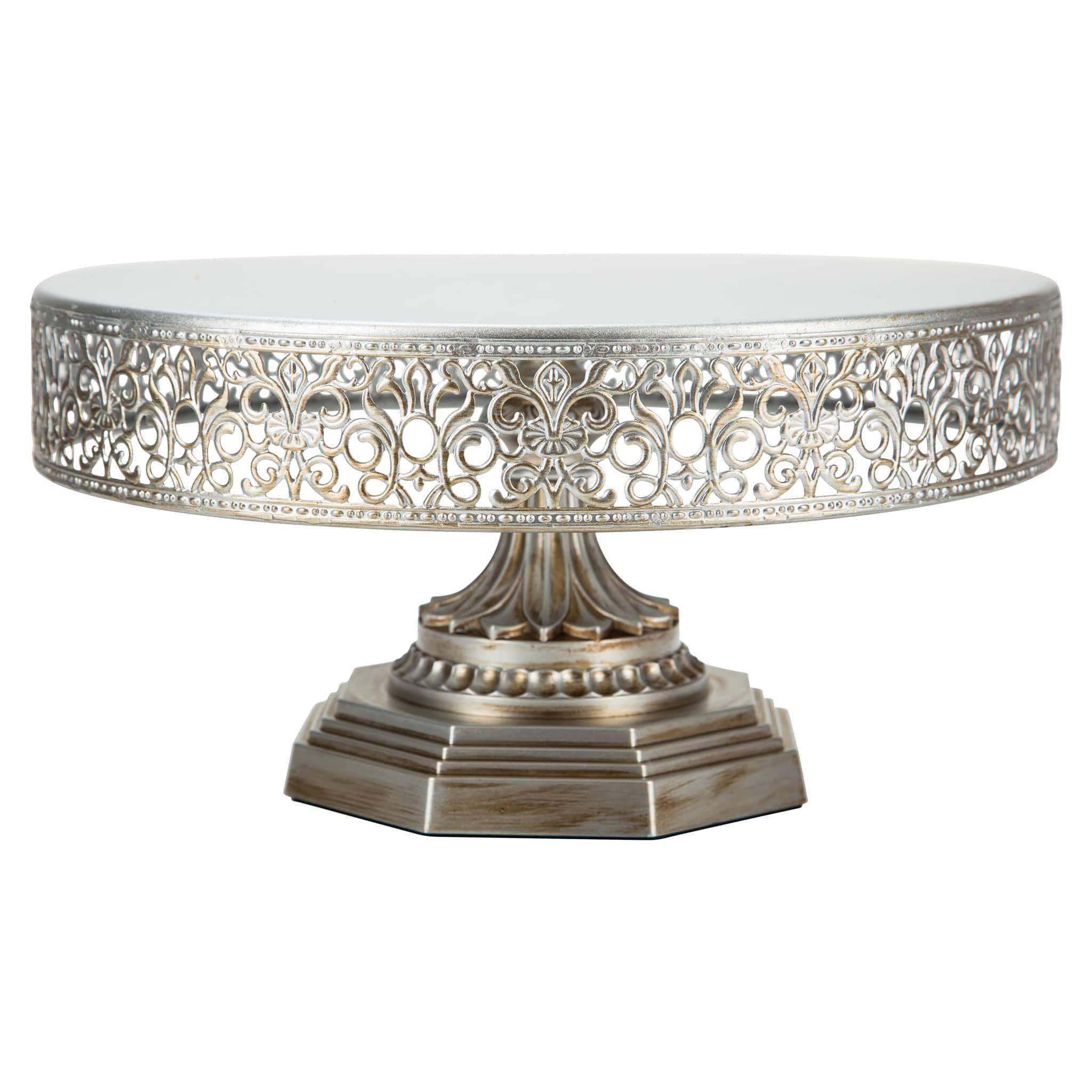 inch vintage round metal wedding cake stand silver wedding