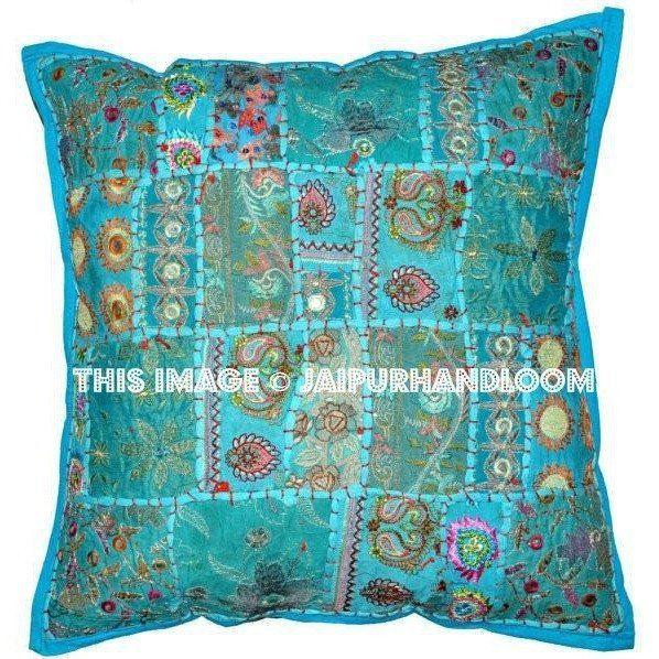 20x20 Xl Blue Patchwork Dining Chair Cushions Bohemian Bedroom Shams Accent Throw Pillows Throw Pillows Indian Pillows