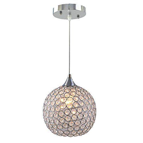 Dinggu Single 1 Light 6 Inch Flush Mounted Mini Size Modern Ball Crystal Pendant Light Chandelier Lamp Fixture Bulbs Fittings Ideas Crystal Pendant Lighting Pendant Light Plug In Pendant Light