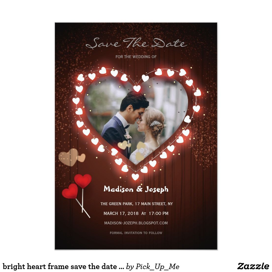 bright heart frame save the date invitation card | Other Wedding ...