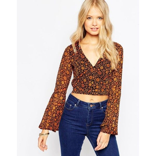 Asos Open Back 70s Crop Blouse In Ditsy 220 Sar Liked On