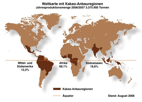 Cacao growing regions showing percent of world production for 2006-7