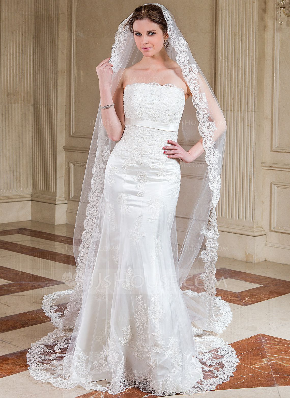 [US 43.00] Cathedral Bridal Veils With Lace