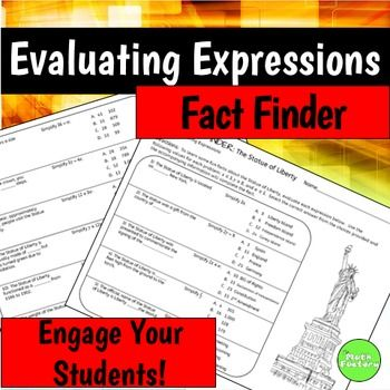 Evaluating Expressions Fact Finder | ***Best of Teachers TiePlay ...