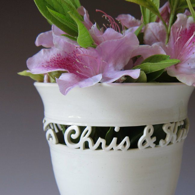Personalized Wedding Vase With Names And Wedding Date From Maid Of