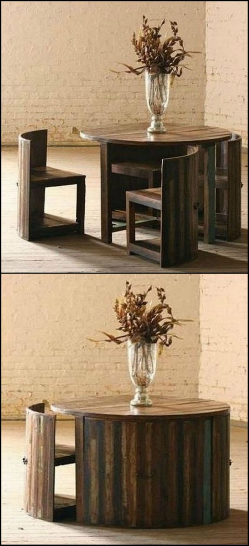 space saver furniture. Here\u0027s A Great Space Saving Table Made From Reclaimed Teak. The Chairs Are Fitted With Forged Iron Handle On Back So You Can Easily Pull Them Out. Saver Furniture E