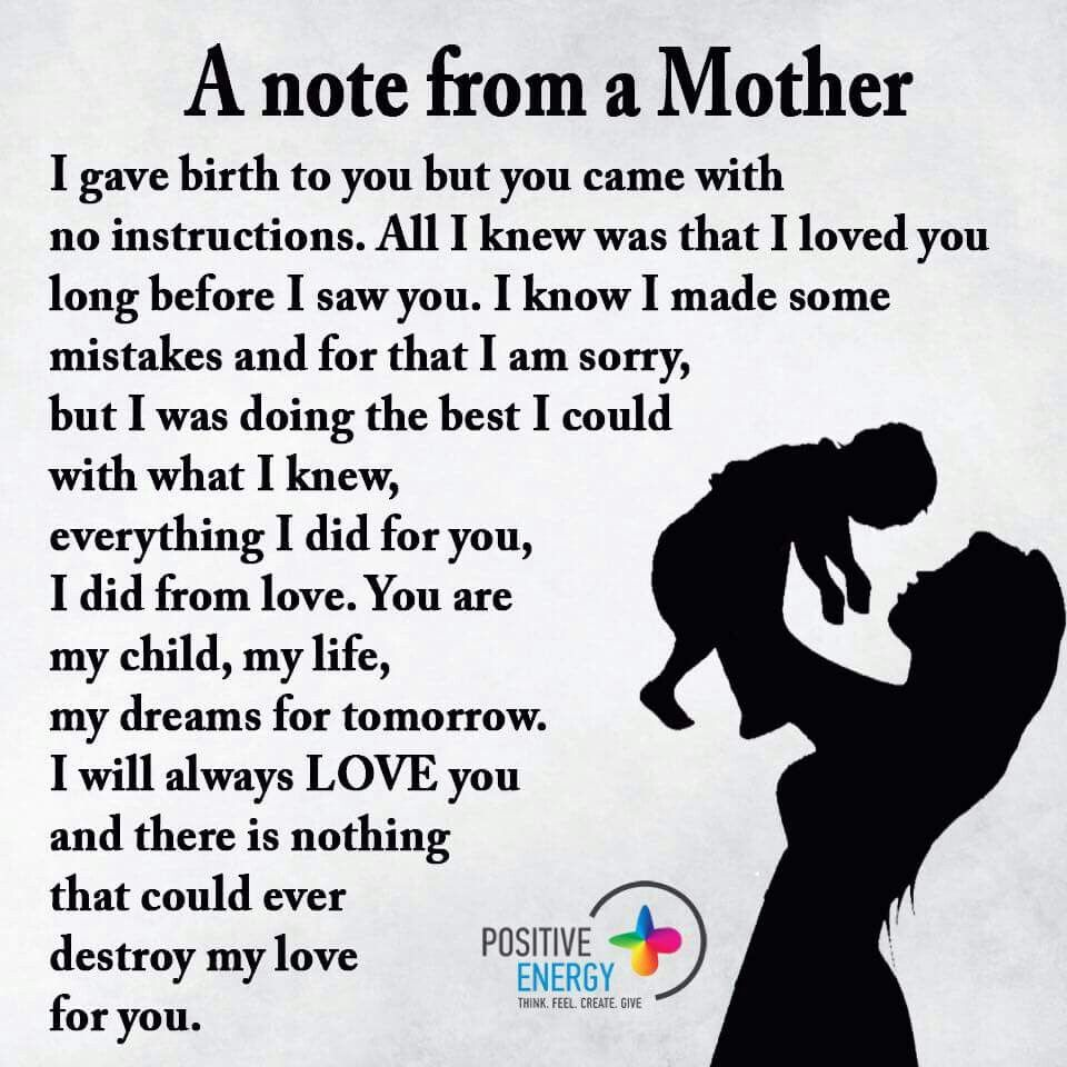 A Note From Mother I gave Birth to You but You Came With No Instructions Love For Child QuotesBest