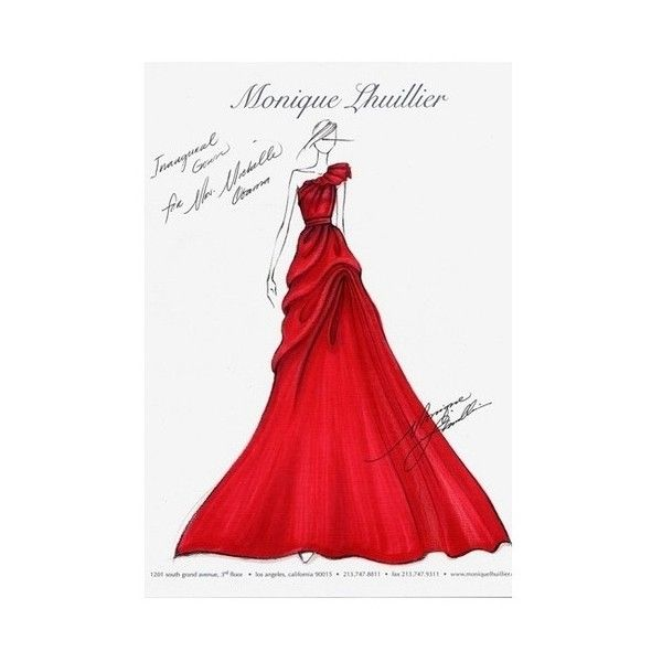 Sketch of red ball gown ❤ liked on Polyvore | Gorgeous formal ...