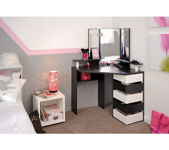 coiffeuse avec led joly noir et blanc chiffonnier coiffeur et led. Black Bedroom Furniture Sets. Home Design Ideas