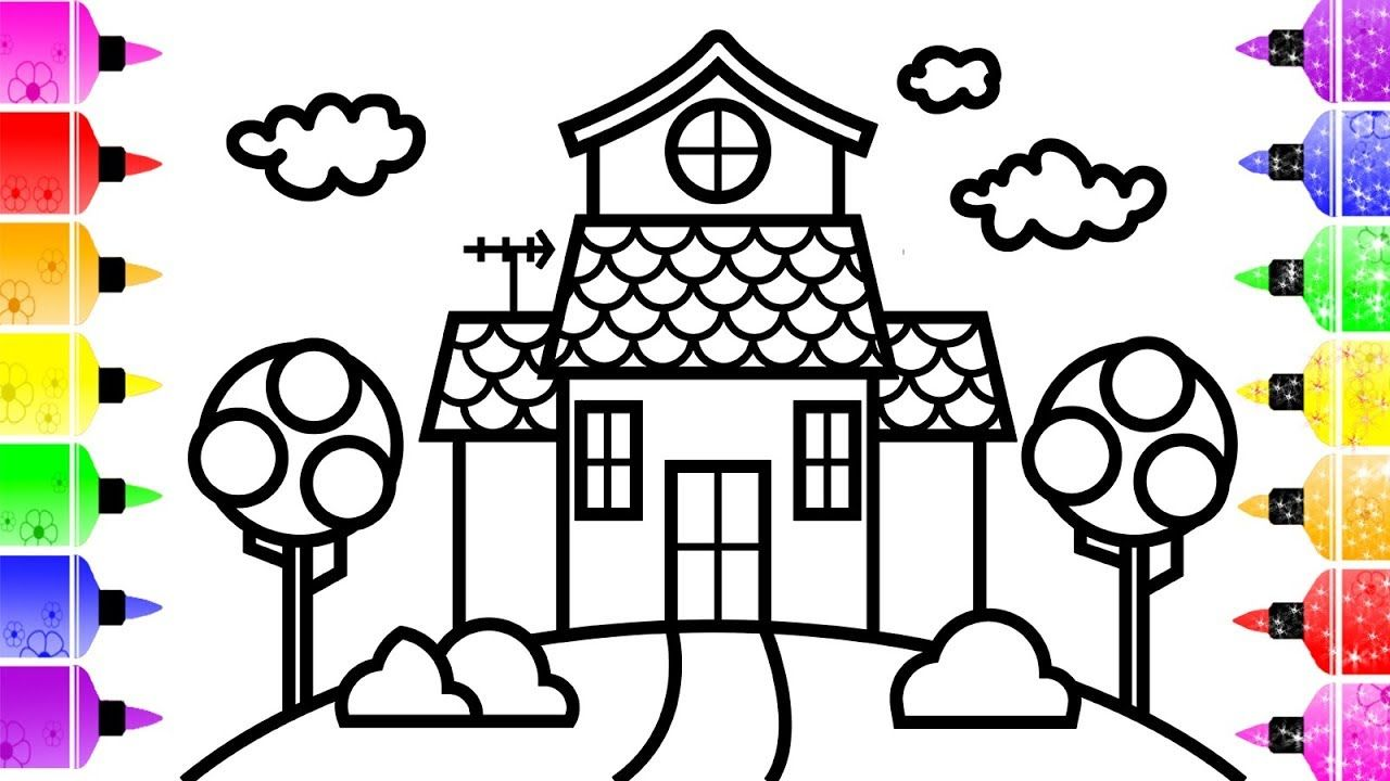 How To Draw A House For Kids Cute House Coloring Book Bus
