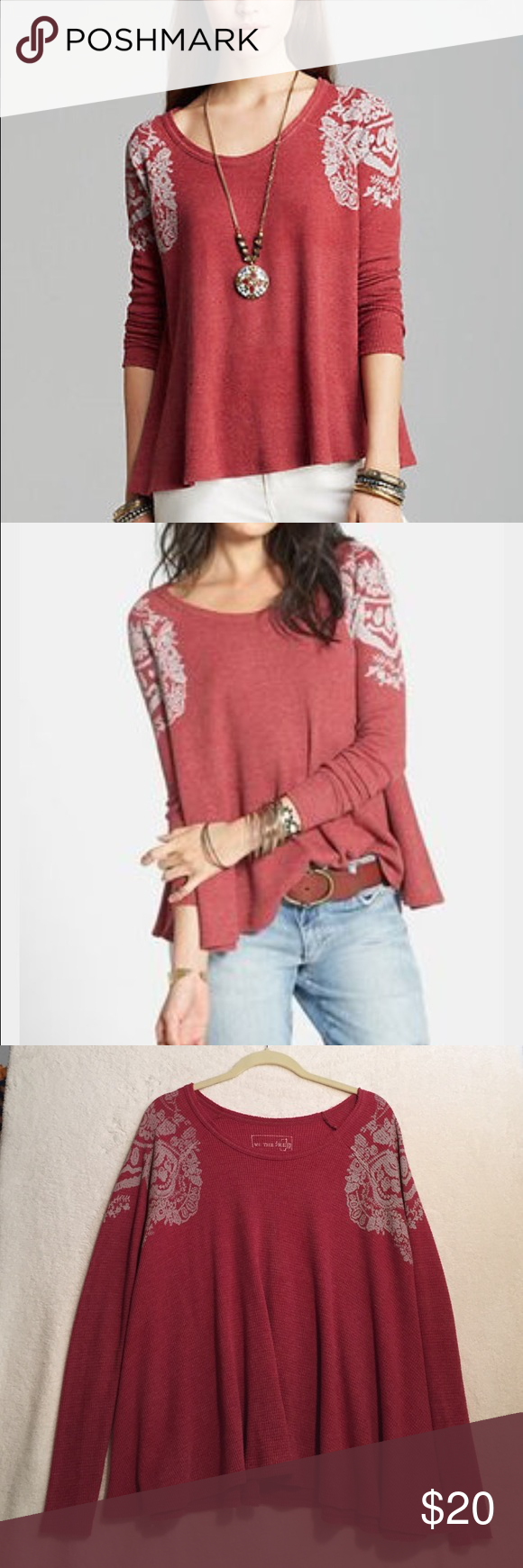 Free People Rockabilly Thermal size Large Free People Rockabilly Thermal size Large. Super cute, warm and comfy. Worn a handful of times. Raw edges. Free People Tops Tees - Long Sleeve
