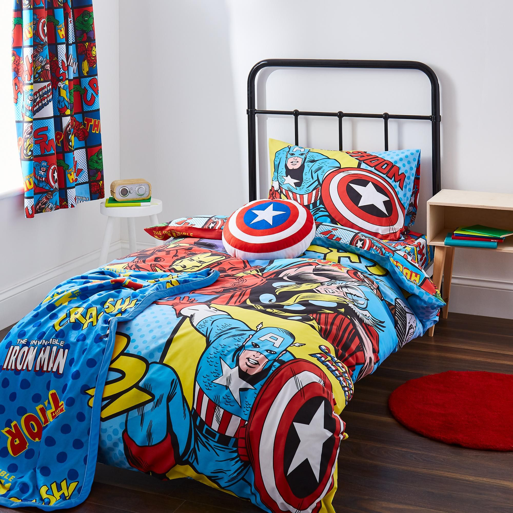 Disney Marvel Comics Print Bedding Duvet Case Set Double Soft Pillow Cover Set