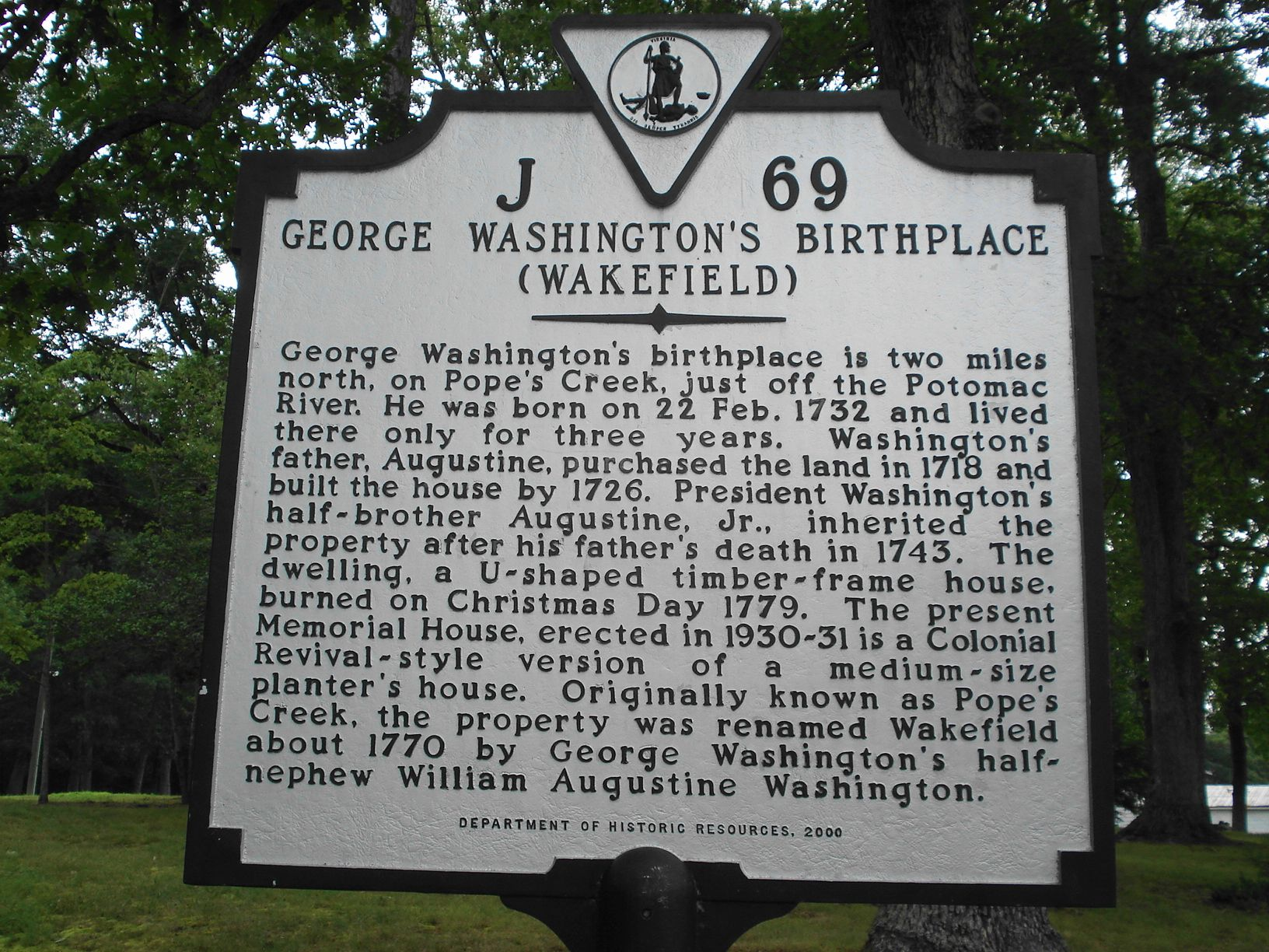 George Washington Birthplace National Monument Historical Marker Colonial Beach Virginia George Washington Birthplace Virginia History Historical Marker