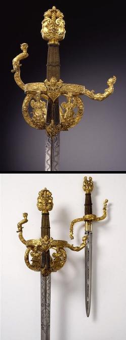 Juego de espada ropera y daga de parada - Alemania (Dresden) - C 1610
