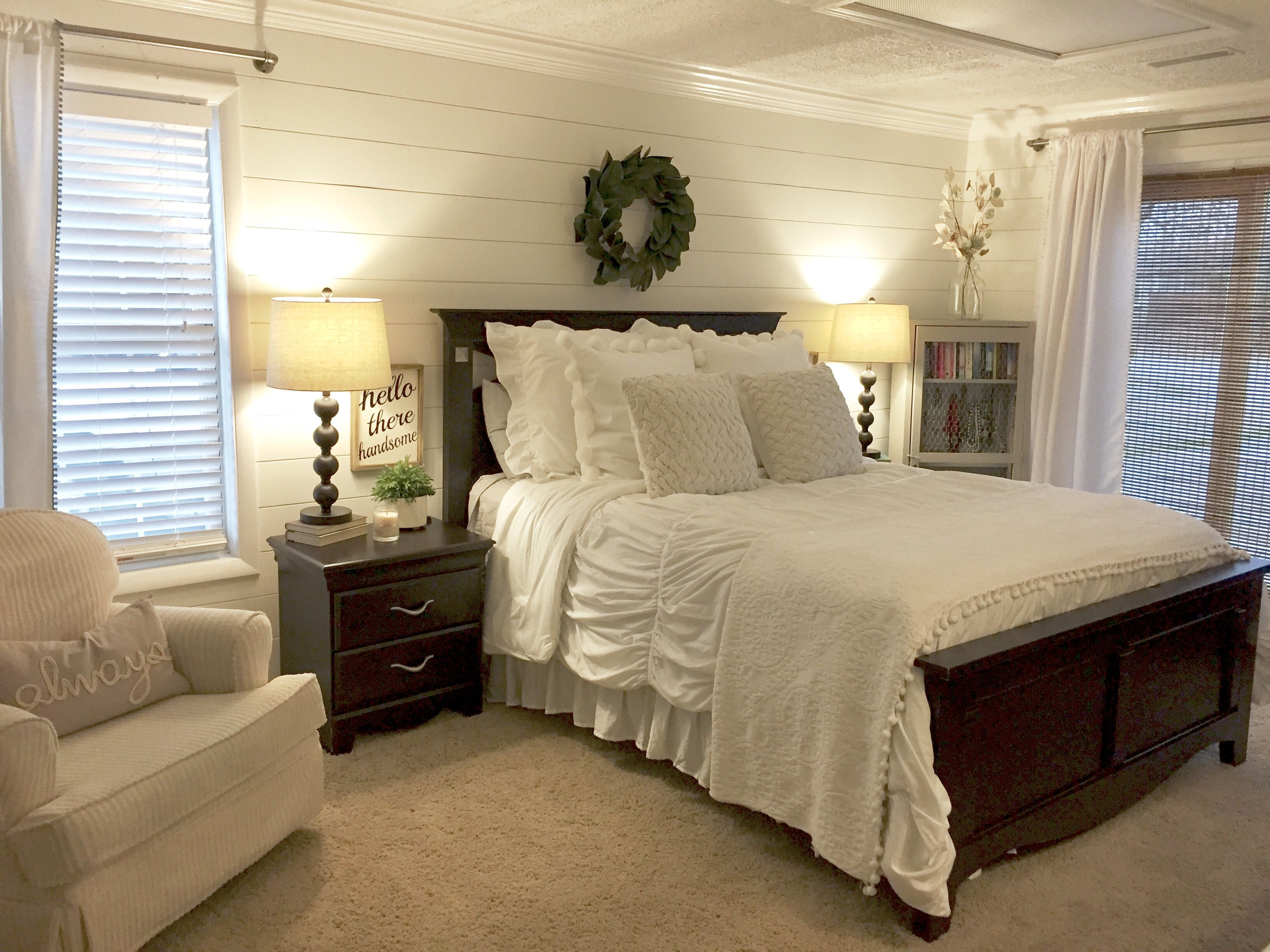 Shiplap bedroom walls with farmhouse charm magnolia for Dark walls white furniture