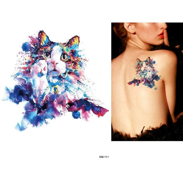 587bb5c75 1x Diy Body Art Temporary Tattoo Colorful Animals Watercolor Painting  Drawing Horse Butterfly Decal Waterproof Tattoos Sticker