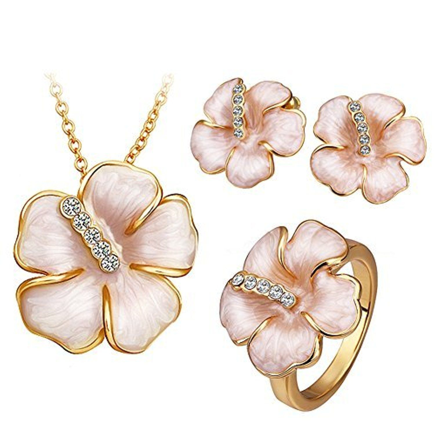 Wedding gifts k gold plated fashion jewelry sets ring necklace