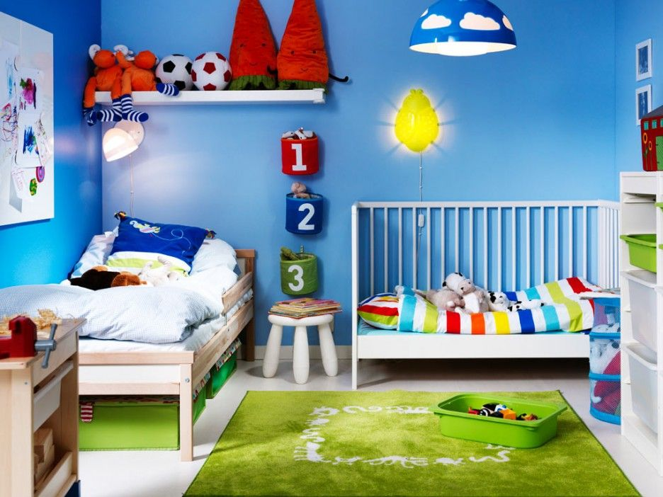 sky blue child room design with white caged kid bed set with rainbow bedding plus light wood bed and numeric wall mounted storage shelves - Light Wood Kids Room Decor