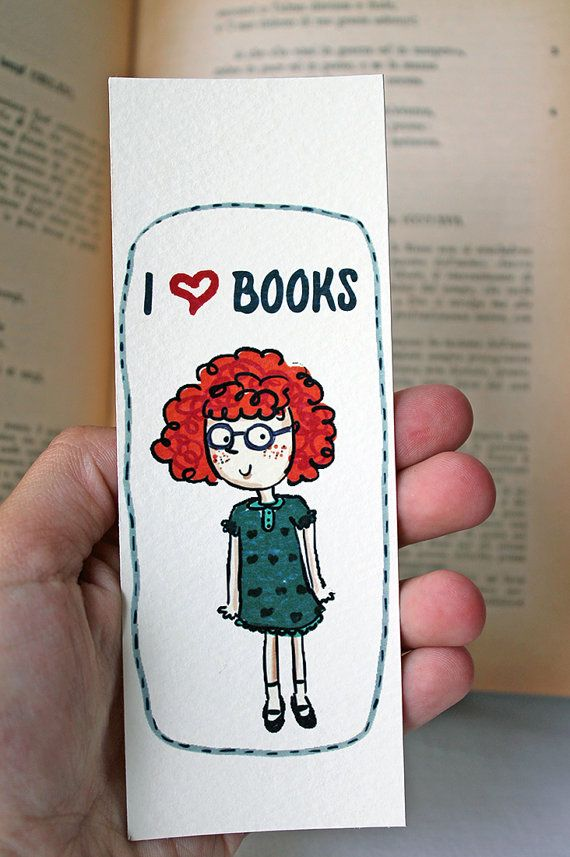 Bookmark I love books with a cute red haired by LaDouceurDuMiel