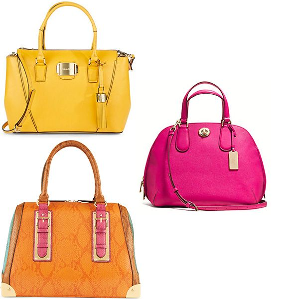 Go For A Bright Structured Top Handle Or Cross Body Bag Like These From Calvin Klein And Coach