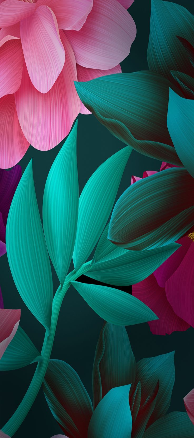 Ios 11 Iphone X Green Black Pink Floral Plant Simple Abstract Apple Wallpaper Iphone 8 Clean Beauty Colour Ios Min Yabloko Oboi Chernye Oboi Oboi