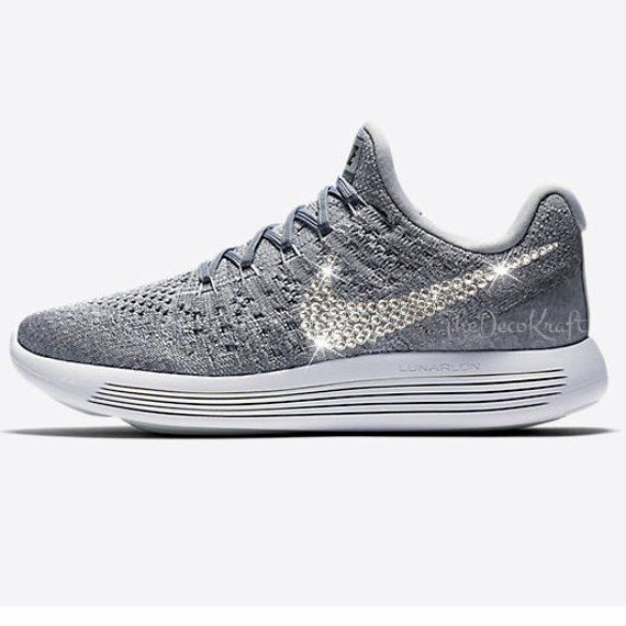 new style d7a06 f3be9 Custom Bling Womens Nike LunarEpic Low Flyknit 2 Wolf Grey Swarovski  Crystal Bling Sneakers, Running