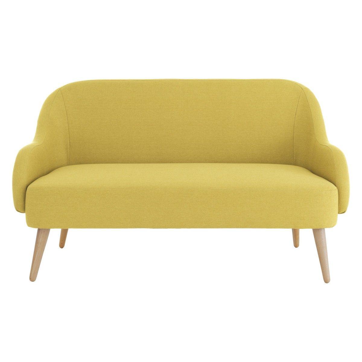 MOMO Saffron yellow fabric 2 seater sofa | Yellow fabric ...