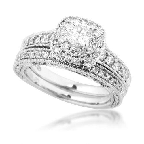 Ladies Diamond Wedding Set in White Gold