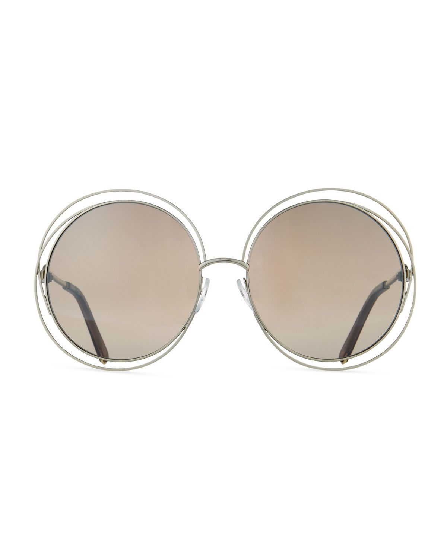 90fec4fe8c2 Chloe Carlina Trimmed Round Sunglasses