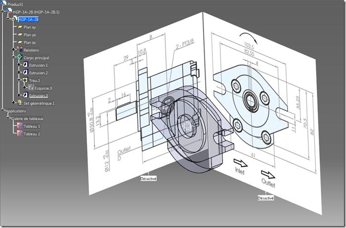 Modélisation immersive en 8 étapes d'une pompe à huile sur Catia V5 (Sketch Tracer)