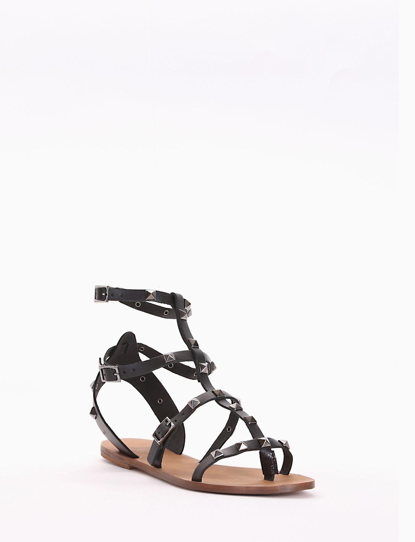 Sandalo infradito con tacco 1 cm, fondo cuoio e soletto in