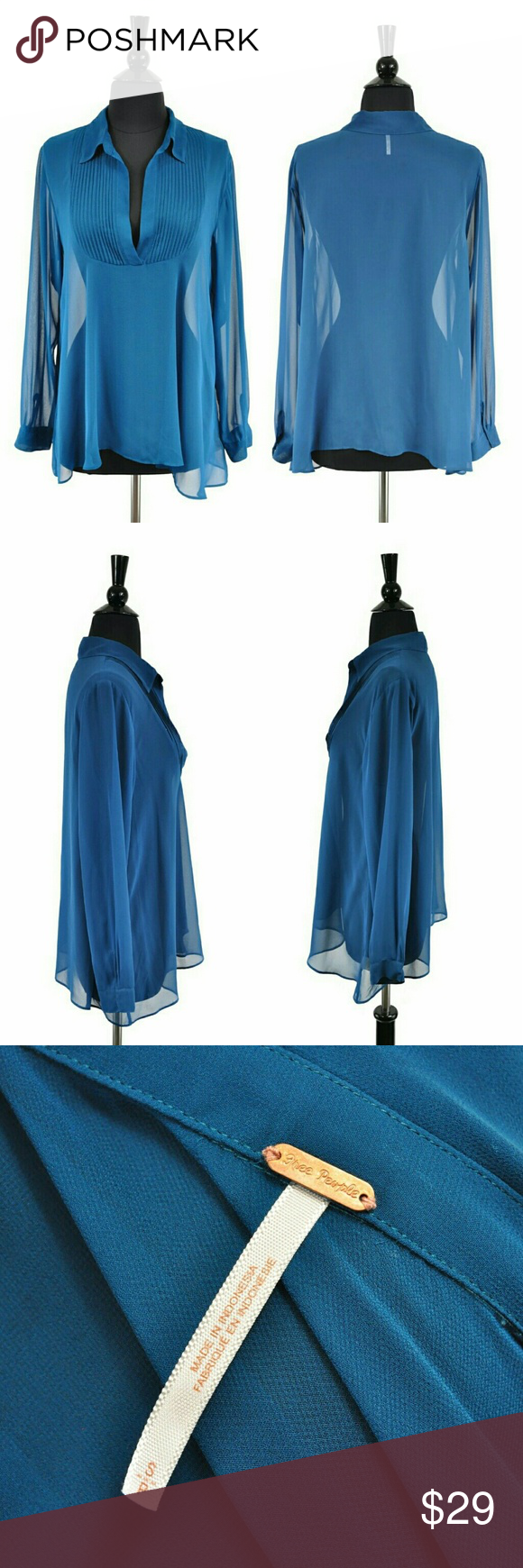 """Free People Blue Sheer Boho Pleated V-Neck Blouse Details Brand: Free People Size: Small / S Material: 100% Polyester Color: Blue Condition: Very Good, pre-owned. No rips, stains, or flaws present.   Measurements Bust: 36"""" Waist: 40"""" Sleeve: 23.5"""" Length: 25"""" Free People Tops Blouses"""