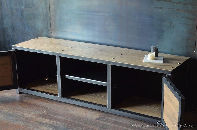 Meuble tv style industriel acier bois - MICHELI Design | Déco Maxime ...