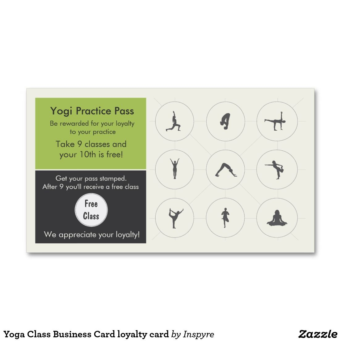 Yoga class business card loyalty card yoga studio pinterest yoga class business card loyalty card reheart Image collections