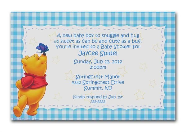 winnie the pooh blue gingham invitations. can be used as baby, Wedding invitations