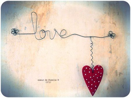 Wired love with wooden heart...such a simple design...such a huge sentiment!
