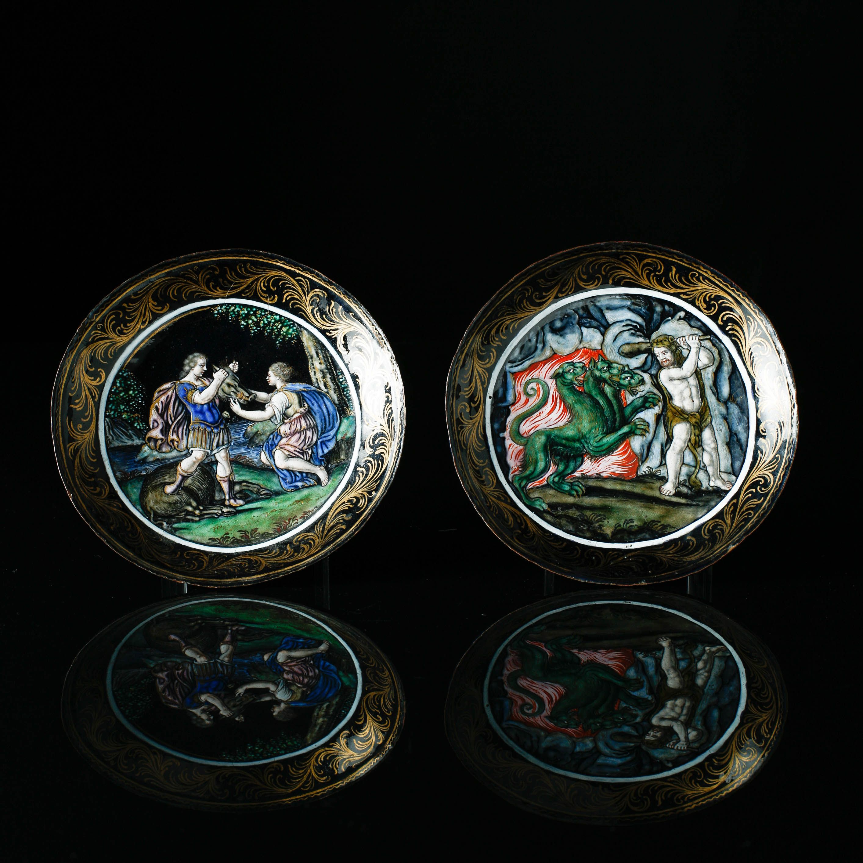 A pair of enamelled saucers France, 17th Century