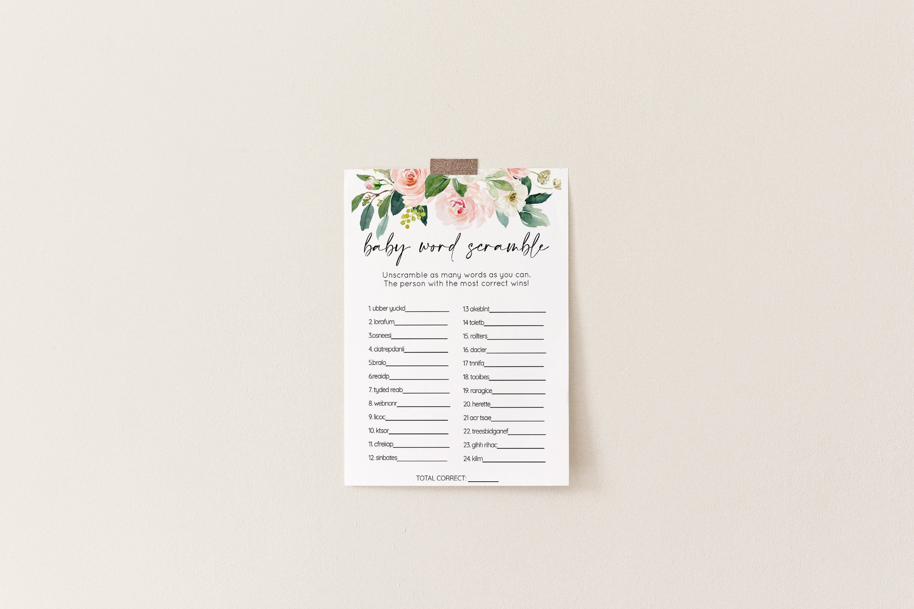 Blush Floral Baby Word Scramble Baby Shower Game 006
